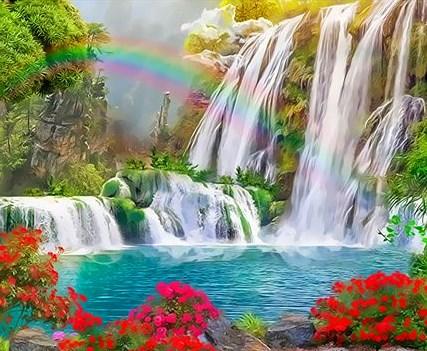 Картина по номерам 30x40 Радуга над водопадами